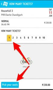 1 Bookmyshow Movie Ticket Select Option